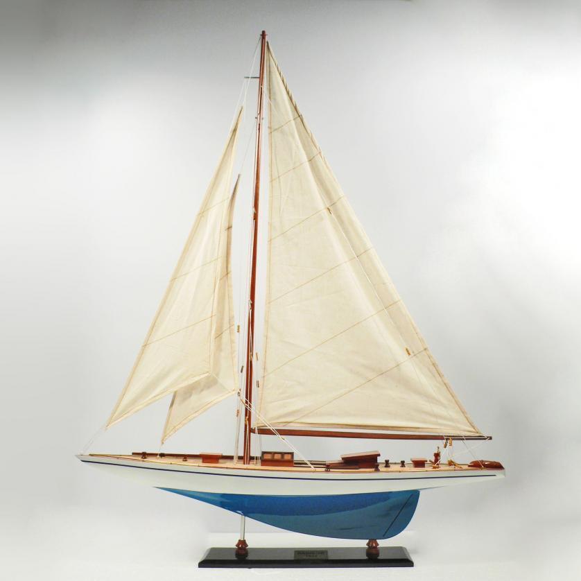 Handgefertigtes Schiffsmodell aus Holz der Rainbow (blau, weiß, Segelschiffsmodell)