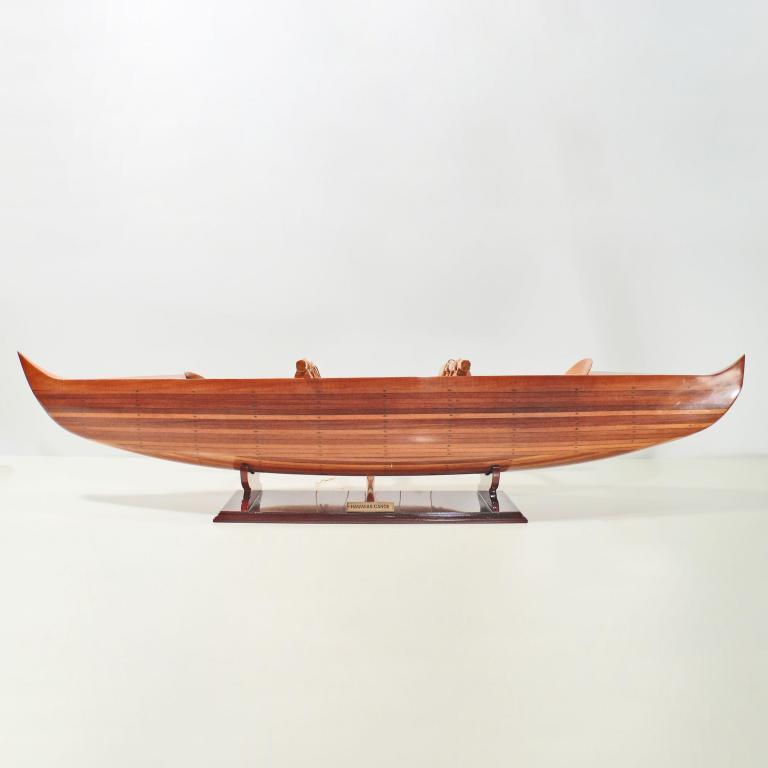 Handcrafted ship model from wood of a canoe